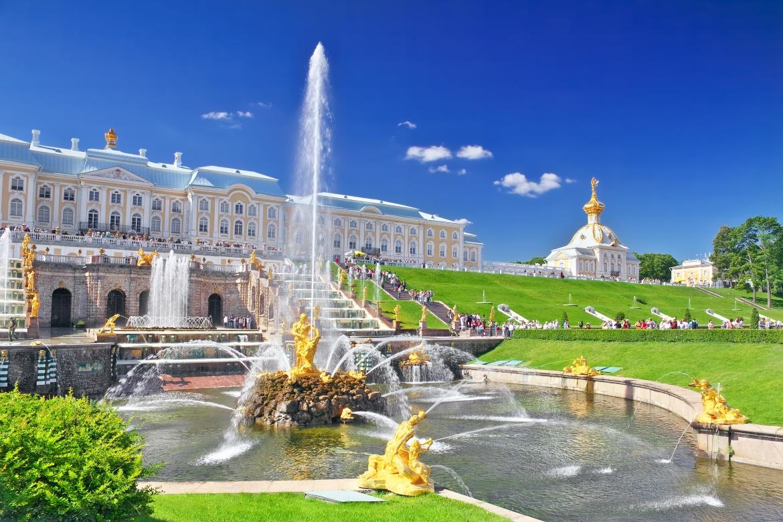 Grosse Kaskade vor dem Grossen Palast in Peterhof